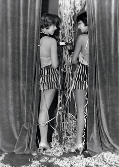 Two Nelson Girls (Fritzi Schall and Katja Böhm) drinking champagne. Berlin, 1926 (Martin Badekow)