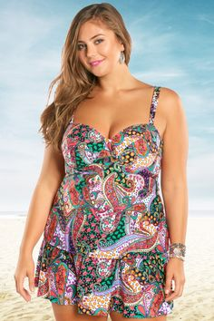 e6e4f8a11f Kenneth Cole Gypsy Gem Underwire Plus Size Tankini Top