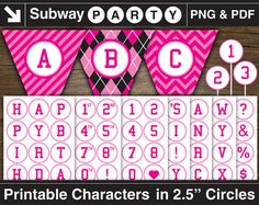 Printable Pink Alphabet in 2.5 Circles. Monster High Party Banner Chars by subwayParty