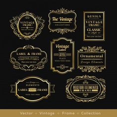 vinage金のレトロなロゴ枠バッジのデザイン要素 無料ベクター