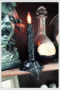 HF member battery powered candle makeover~love the elongated drips!