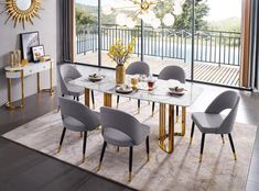 ESF Furniture Gold Gold marble dining table in luxury style Marble top and golden stainless 7 Piece Dining Set, Dining Room Sets, Dining Room Table, A Table, Dining Area, Table Legs, Wood Table, Dining Chairs, Marble Top Dining Table