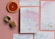 Watercolor wedding invite suite Flower Outline, Watercolor Wedding Invitations, Blue Flowers, Invite, Art, Kunst, Art Education, Artworks