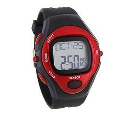 BestOfferBuy Reloj Deportivo Unisex Digital Silicona Sensor Pulso Ritmo Cardiaco Rojo » Equipo Para Crossfit