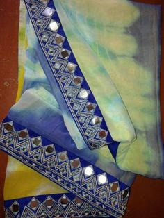 Lovely saree with mirror work