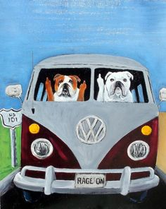 English Bulldog Dog Art Print/ROAD RAGE/by Original by dogwagart, $13.75