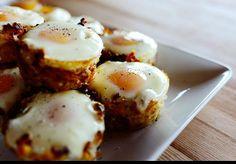 Eggs in Hashbrown Nests http://thepioneerwoman.com/cooking/2013/03/eggs-in-hash-brown-nests/