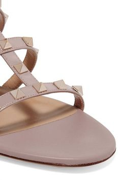 Valentino - Rockstud Leather Slides - Beige - IT