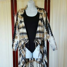 Stunning Fringed Wrap Sweater! NWOT Medium weight, tie-dye black/tan/ivory Fringed Sweater wrap with simple bow tie closure.  NEVER WORN! Soft Surroundings  Sweaters Cardigans