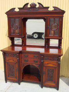 Antique Furniture English Antique Sideboard Hutch Server Buffet Cabinet