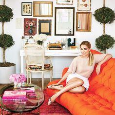 lauren conrad interior decor,colorful interior, orange sofa, wall gallery, worspace decor, electic interior, ecelectic decor, colorful decor, glamour interior decor, elegant interior decor, hollywood regency