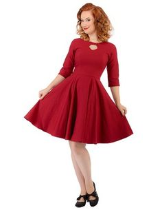 3/4 Sleeve Diamond Keyhole Dress Front Burgundy