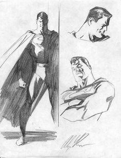 Original Comic Art titled Alex Ross Superman Character Study, located in Doug's Misc. Comic Book Artists, Comic Artist, Comic Books Art, Joker Art, Batman Art, Superman Drawing, Superman Artwork, Alex Ross, Comic Character