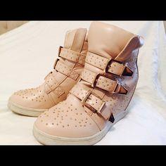Sneakers bone color studded wedges Cute hidden wedge studded sneakers. Wanted Shoes Sneakers