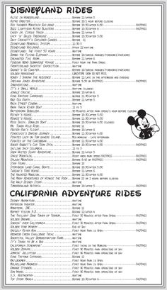 Disneyland Attractions – When to Ride List So after lamenting that the Disneyland books didn't have the handy guides that the Disney World books do, I decided to take it upon myself to compile the list. Voyage Disney World, Walt Disney World, Disney Parks, Disneyland World, Disneyland Secrets, Disneyland California Adventure, Disney World Vacation, Disneyland Resort, Disney Trips