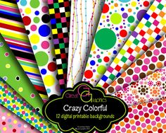 Party Paper Polka Dot Paper Digital Paper by GreatGraphics on Etsy