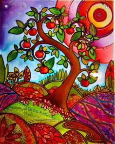 """""""The summer apple"""" an original painted glass design by Deb at the glass orchard. contact mailto:debsinledb..."""