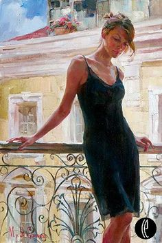 Afternoon on the Balcony  Embellished Giclee on Canvas by Michael and Inessa Garmash