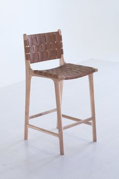 Love Love Love Leather Strapping Stool With High Back  Teak  Tan