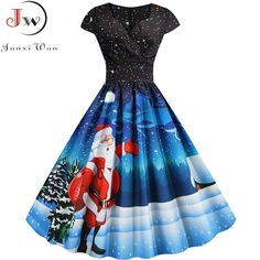 Christmas Womens Vintage Holiday Party Plus Size Sleeveless A Line Dress Flower Print Back String Retro Flare Swing Dress