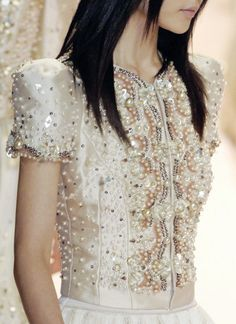 Beautiful pearl & sequin embellished dress - couture beading; close up fashion details