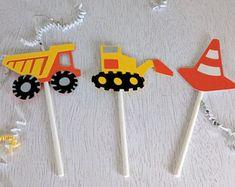 Construction Cupcake Toppers, Bulldozer Cupcake Topper, Dump Truck Cupcake Topper, Construction Birthday Party, Set of 12
