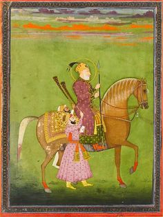 The Mughal Emperor Bahadur Shah (reg. 1707-1712) on horseback with two attendants waving morchals. Mughal, second half of the 18th Century