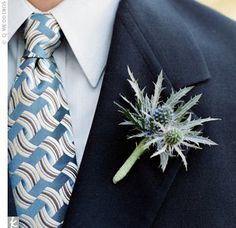 Scott wore a thistle boutonniere for a rustic look that kept with the wedding's dominant blue color. Thistle Wedding, Rose Wedding, Wedding Men, Wedding Attire, Floral Wedding, Diy Wedding, Wedding Flowers, Wedding Ideas, Wedding Bells