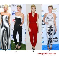 Miley Cyrus Jumpsuits by ladiesfashionsense on PolyvoreHere at Ladiesfashionsense, We can't get enough of jumpsuits this season. It seems Miley Cyrus does too! She's been seen rocking the jumpsuit at many red carpet events. Which outfit do you like best?  Shop Ladiesfashionsense.com Jumpsuits: http://www.ladiesfashionsense.com/jump.html