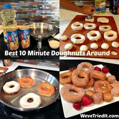 easy to make cinnamon sugar donuts.definitely a MUST try! The kids would go crazy! Biscuit Doughnut Recipe, Canned Biscuit Donuts, Easy Donut Recipe, Donut Recipes, Baking Recipes, Funnel Cake Recipe Easy, Canned Biscuits, Kid Recipes, Chicken Recipes