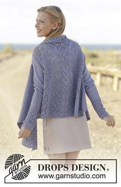 Altair - Knitted jacket worked in a square with lace pattern on the back in DROPS BabyAlpaca Silk. Free pattern by DROPS Design