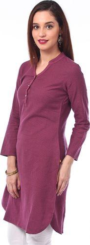 Purple Dobby 100% Cotton Kurta - Aurelia Kurtas & kurtis for women | buy women kurtas and kurtis online in indium