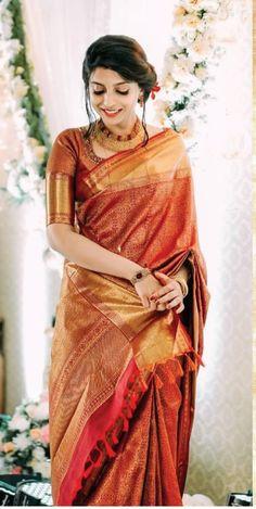 Indian Bridal Sarees, Bridal Silk Saree, Indian Bridal Outfits, Indian Bridal Fashion, Indian Designer Outfits, Christian Bridal Saree, Saree Jewellery, Indian Dresses Online, Wedding Saree Collection