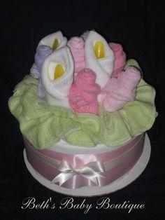 Floral Bouquet Diaper Cake - Beth's Baby Boutique
