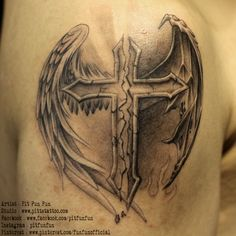 Cross with angel and demon wings . www.pittstattoo.com facebook : fun fun official page instagram : pitfunfun