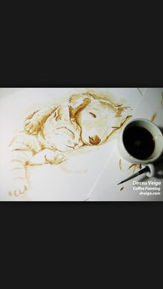 Coffee painting puppy and kitten