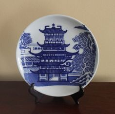 Vintage Blue and White Asian Oriental Pagoda by TheSilverOyster