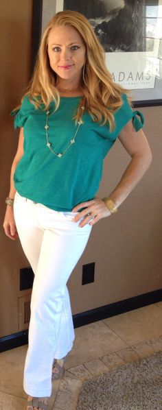 CAbi Spring 2013 Shoulder Tee with CAbi vintage bootcut white jeans - grandma's house and shopping