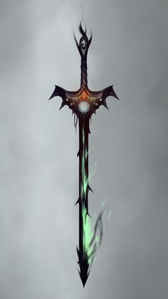 The Hellgate Blade. Fantasy Demon, Fantasy Sword, Demon Art, Fantasy Weapons, Fantasy Warrior, Dark Fantasy Art, Ninja Weapons, Anime Weapons, Dungeons And Dragons Homebrew