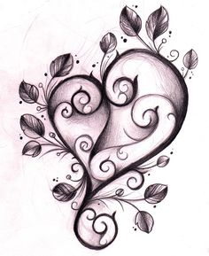 Heart with skull inside and vines
