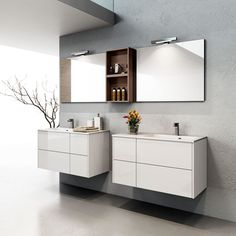 Modern white wall hung single basin #vanities from #Italy are now available in stock for pick up. Check them out now at TFO.