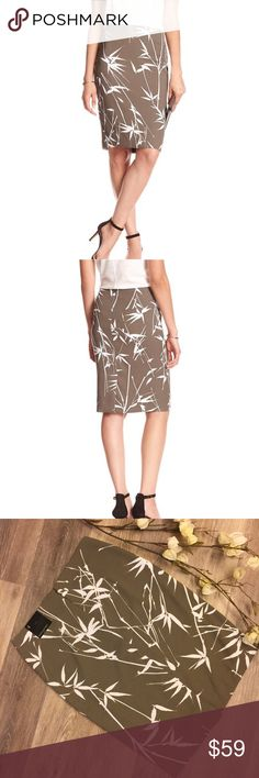 "BANANA REPUBLIC PENCIL SKIRT 🔹Beautiful pencil skit from Banana Republic🔹Color: taupe with with leaf pattern🔹Concealed zip with hook and eye closure🔹7"" slit in back🔹Size 4: 29"" waist, 23"" length 🔹Lined🔹Fabric: 100% polyester🔹NO trades🔹Smoke free home🔹Please visit our beautiful friend 🔹Molinda @molinda25🔹For more Banana Republic beauties and many other treasures🔹Thank you for visiting our closet! 💕🌻💕 Banana Republic Skirts Pencil"