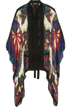 Roberto Cavalli Draped printed washed-silk top