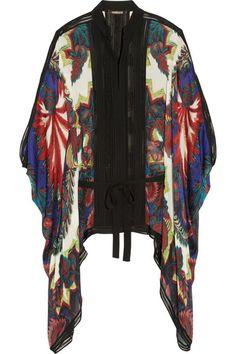 Roberto Cavalli Draped printed washed-silk top