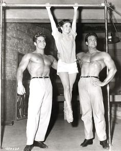 Dick DuBois - Mr. America 1954, Debbie Reynolds & Steve Reeves - Mr. Universe 1954, in Athena (1954)