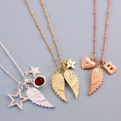 Have fun designing your own personalised angel wing charm necklace, using our stunningly detailed angel wing charms and adding your choice of other charms.Left-hand and right-hand angel wing charm in silver, gold and rose gold colour. Choose charms from our huge selection, including 'large outline star', 'number hearts', and our popular 'large gemstone charm in birthstone colours'. Add a pretty birthstone charm to match the recipient's birth month, or choose a stone with a meaningful c...