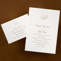 Scallop  A pearl embossed shell tops this ecru card and may be personalized with your choice of ink color and typestyle.