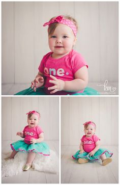 Adorable first birthday outfit for little girl - pink and teal with headband