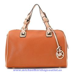 Michael Kors Leather Satchel Chestnut On Sale