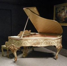 Amazing Custom Painted Knabe Country French / Renaissance Style Parlor Grand Piano | The Antique Piano Shop